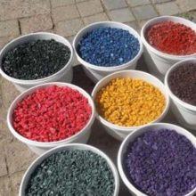 Какая краска лучше для изготовления цветного щебня